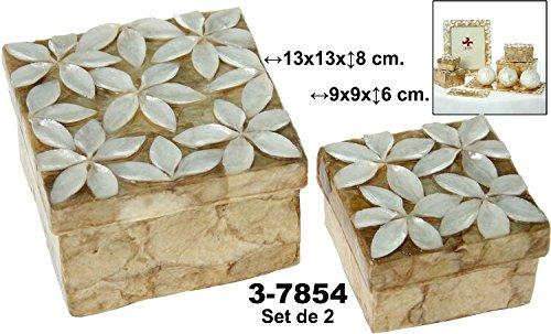 DONREGALOWEB Set de 2 Cajas cuadradas de nácar con Flores en Color Blanco y Beige