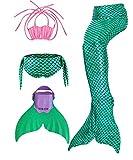 shepretty Queues de Sirène Mermaid Bikini Maillots de Bain Costume Cosplay pour Filles,Coquille Vert,110