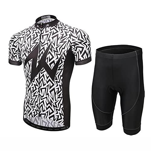 ZMMZZ Trajes de Ciclismo para Hombres Ropa de Bicicleta de Manga Corta 5D Gel Pad Short Maillot Ciclismo,M