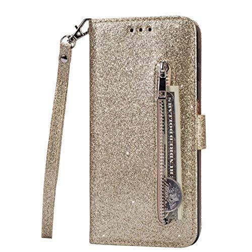 Lijc Kompatibel mit Samsung Galaxy S10 Plus Hülle Glitter Reißverschluss PU Leder Portemonnaie mit Standfunktion und Kartenfach Magnetverschluss Stoßfester Flip-Golden
