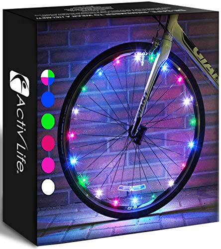 Number-one 2-Tire Pack LED Bike Wheel Lights Ultra Bright Waterproof Spoke Lights with 20 LEDs Front and Back Visible Cycling Decoration Blue Bicycle Tire Lights for Kids//Adults Safety Night Riding