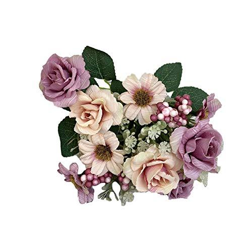 TIREOW Unechte Blumen, Künstliche Deko Gefälschte Western Rose Flower Brautstrauß Hochzeitsgesellschaft Wohnkultur (Lila)