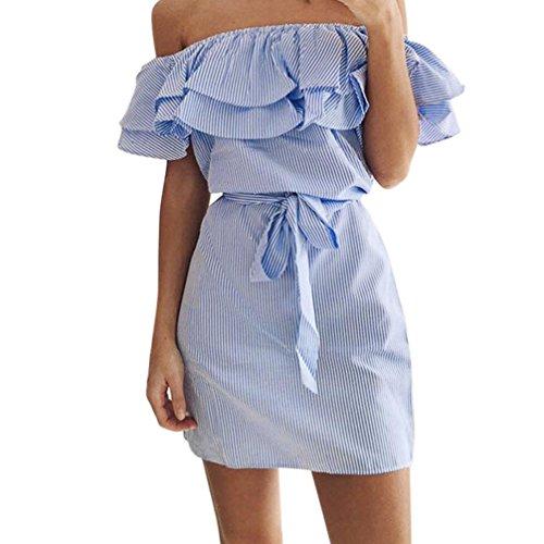 JUTOO Frauen Sommer Striped aus der Schulter Rüschen Kleid mit Gürtel(Blau, EU:38/CN:S)