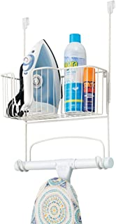 mDesign Metal Over Door Ironing Board Holder with Large Storage Basket - Holds Iron, Board, Spray Bottles, Starch, Fabric Refresher - for Laundry, Utility Room, Garage - White