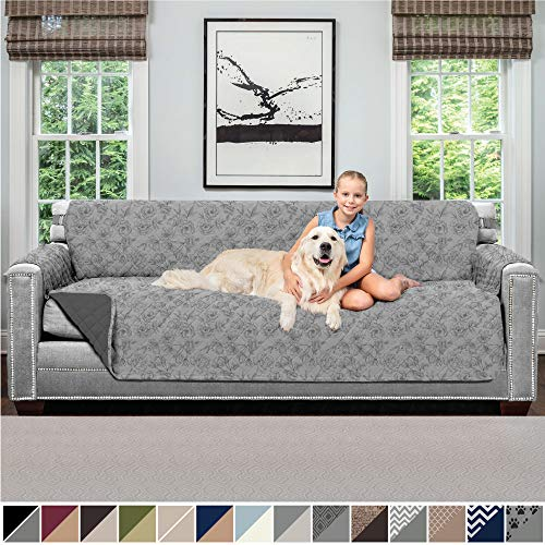 Sofa Shield Original Patent Pending Reversible X-Large Oversized Sofa Protector, Seat Width to 78 Inch, Furniture Slipcover, 2 Inch Strap, Couch Slip Cover, Dogs, Sofa, Vintage Floral Lt Gray Charcoal