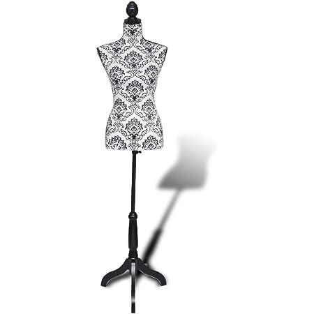 vidaXL Buste de Couture Mannequin Femme Noir et Blanc Buste Vitrines Boutique