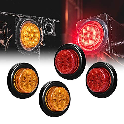 4pc 2 Amber + Red Round Trailer LED Clearance Marker Lights [DOT Approved] [Reflector Lens] [Grommet] [Flush-Mount] [Waterproof IP67] Marker Clearance Lights for Trailer Truck