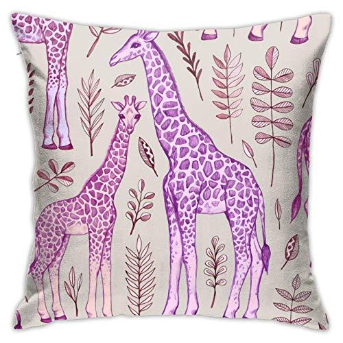 MZZhuBao Jirafas en rosa y morado ropa de cama de 45,7 x 45,7 cm, almohadas decorativas para interiores