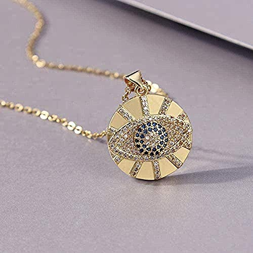 Collar de acero inoxidable collar de piedra pavimentada turco azul sol redondo amuleto collares para mujeres hombres joyería de protección