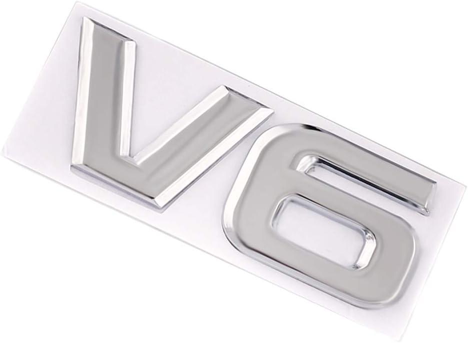 3D Metal V6 Emblem Fit For Highlander Sport Fender Trunk Lid Nameplate Decorative Silver