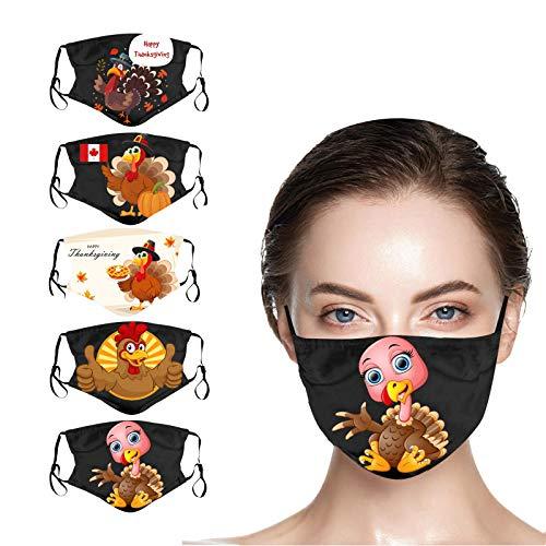 JUSHINI 5 Stück Thanksgiving Truthahn Drucken Stoff Mundschutz für Erwachsene Wiederverwendbar Mund Nasenschutz Outdoor Schutzstaub Mundbedeckung Waschbar Schutzhülle Winddicht Halstuch