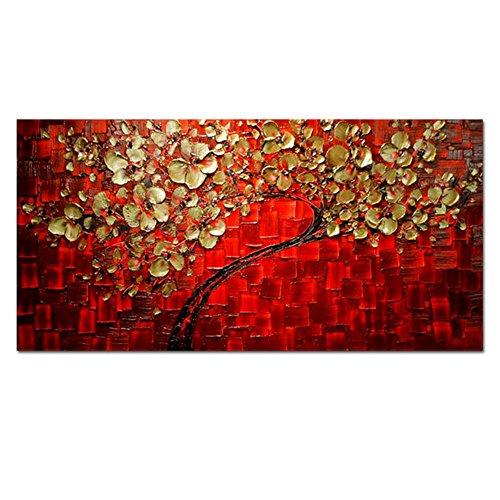 HCOZY art - rosso 100% dipinto a mano Quadri Fiori moderni su tela parete floreale olio su tela di canapa per la decorazione domestica (Senza telaio)