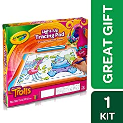 Crayola; Trolls Light-up Tracing Pad; Art Tool; Bright LEDs; Easy Tracing with 1 Pencil, 12 Colored Pencils, 10 Blank Sheets, 10 Tracing Sheets by Crayola