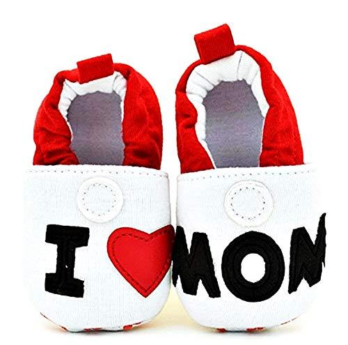 Zapatos infantiles de bebé I Love Mom Ti Amo Mamma Idea regalo Navidad y cumpleaños Blanco Size: 9-12 mesi