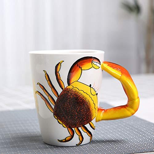 HapiLeap 3D Pure Hand-Painted Cute Animal Ceramic Coffee Mug Coffee Cup (Crab)