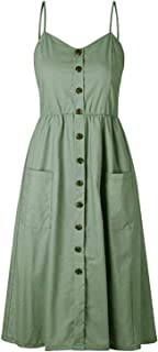 CHARLES RICHARDS Women's Button Down Spaghetti Backless Midi Dress Summer Dress Sundress with Pockets