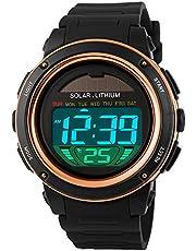 Fintier 人気な 電波 ソーラー カジュアル腕時計 メンズ腕時計 スポーツギア アウトドアウォッチ デジタル表示 クォーツウォッチ 防水 多機能 腕時計