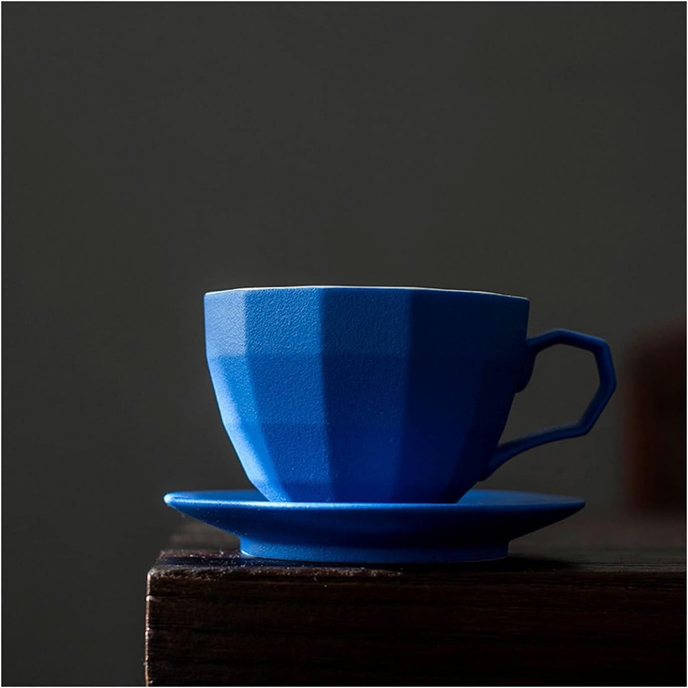 Porcelain Mug 8.1oz Blue Coffee Tulsa Mall Cup Set Ceramic and quality assurance Saucer Coffe