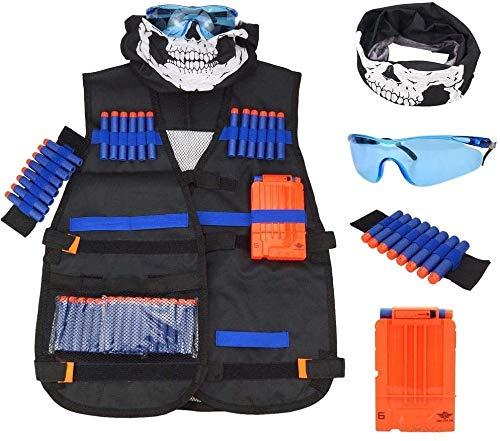 Uteruik Kit de chaleco táctico para niños para pistolas Nerf N-Strike Elite Series con balas de recambio, clips de recarga, cubierta facial, muñequeras y gafas, 1 juego