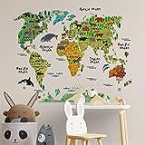 Pegatina de Pared Wall Decor Mapa Mundi Infantil. Vinilo Decorativo Mapa para NIÑOS. Pegatina Decorativa Paises Y CONTINENTES Decoración Habitacion Infantil