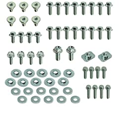 62 factory fit flange bolts including a full set of OEM matching wide head flange bolts and fork guard bolts OEM type reduced head flange bolts with factory matching zinc plating Replace all your plastic body work bolts with OEM Matching fasteners Us...