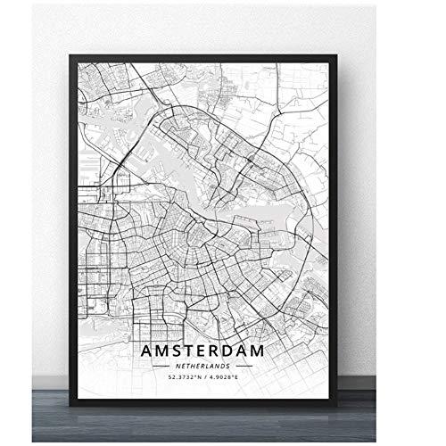 Amsterdam Eindhoven Leiden Rotterdam Den Haag Nederland Kaart Poster-60x80cm Geen Frame