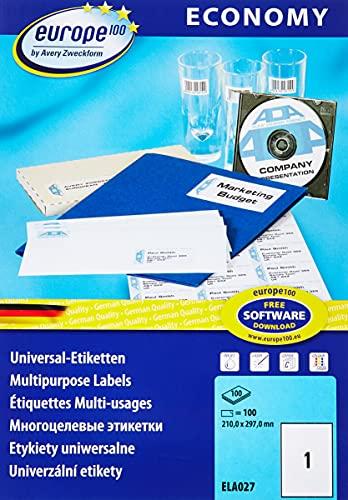 europe100 ELA027 Universal Etiketten (100 Klebeetiketten, Format 210x297mm auf DIN A4, selbstklebende Versandetiketten, bedruckbare Versandaufkleber, 3478) 100 Blatt, weiß