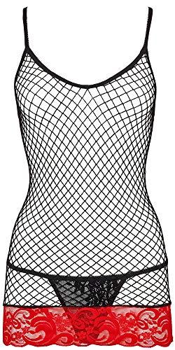 Orion Grobnetzkleid - sexy Netz-Minikleid mit rotem Spitzensaum für Damen, erotischer String aus Spitze für Frauen, schwarz (S-L)
