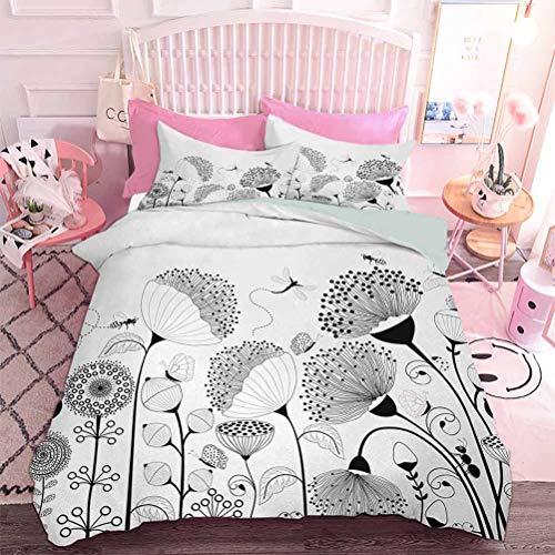 Hiiiman - Juego de ropa de cama con estampado en 3D, símbolos románticos de la naturaleza en boceto estilo arte monocromático de rosas y dos fundas de almohada
