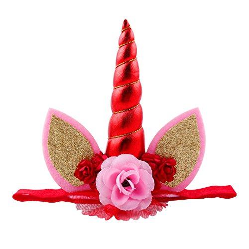 JYSPORT Einhorn Haarreif Stirnband Mehrfarbig Stirnbänder Halloween Krone (Rot)
