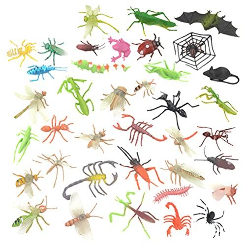Toddmomy 39 Figuras de Insectos de Plástico Juguetes Variados de Insectos Arañas Cucarachas Escorpiones Grillos Saltamontes Hormiga Y Juguetes Educativos para Fiestas