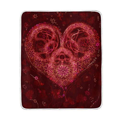 Ahomy Manta para el día de San Valentín es un acordeón corazón cálido Suave y cómodo Mantas para Cama sofá Viaje Coche 60 x 50 Pulgadas