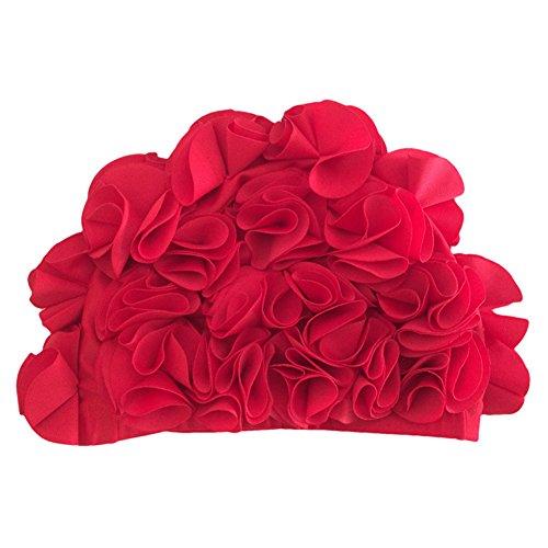 iKulilky - Gorro de baño vintage con pétalos de flores, gorro de natación, para mujer y niña, largo pelo, color rojo, tamaño talla única