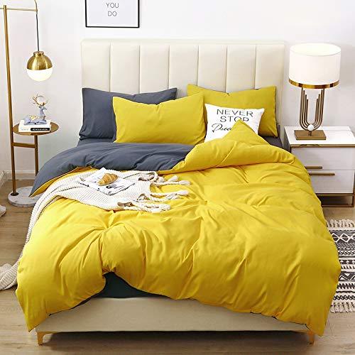 Damier Ropa de cama reversible de 220 x 240 cm, 3 piezas, de microfibra suave, funda nórdica doble con cremallera + 2 fundas de almohada de 80 x 80 cm, color amarillo y gris