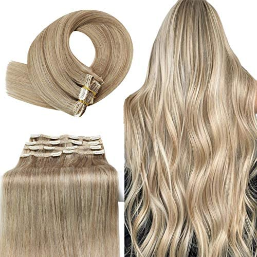YoungSee Clip in Hair Extensions Human Hair Blonde Highlighted Double Weft Clip Hair Extensions product image