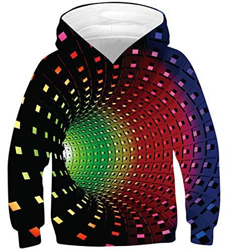 NEWISTAR Jungen Mädchen Kapuzenpullover Hoodie Kinder Langarm Pulli mit Kapuzen Sweatshirt Pullover,Cat7 (Blau),13-16 Jahre (Tag XL)