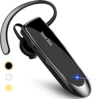 New Bee Bluetooth Earpiece V5.0 Wireless Handsfree Headset 24 Hrs Driving Headset 60 Days Standby Time With Noise Cancelling Mic Headsetcase for iPhone Android Samsung Laptop Trucker Driver