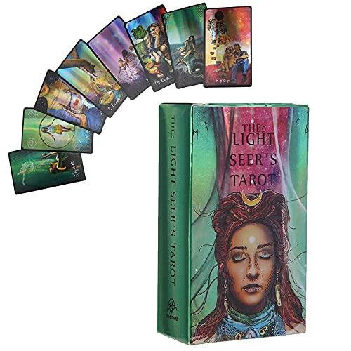 CHENJIEUS 78 Cartes De Tarot, Jeu De Tarot Classique, Papier Hologramme De Jeu De Cartes De Tarot Version Anglaise Fate Prophecy avec Une Boîte Colorée, Peut être Porté à Tout Moment