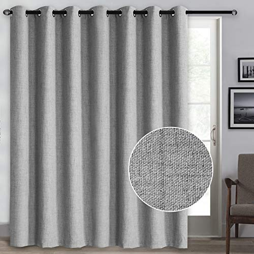 Rose Home Fashion 100% Blackout Curtains, Sliding Door Curtains for Living Room Linen Textured Patio Door Curtains Drapes Extra Wide Grommet Curtain Panel-1 Panel (100x96 Grey)