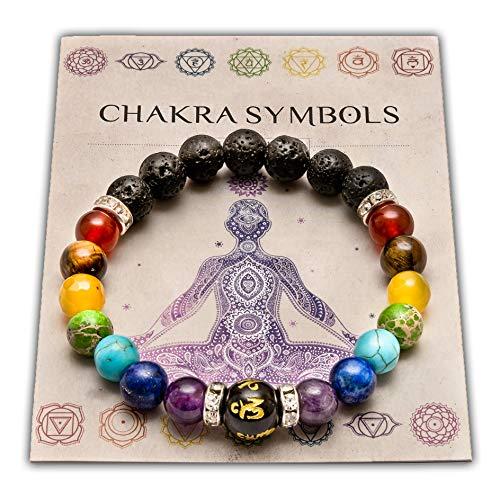 WICCSTAR Double Chakra Bracelet en Pierre Naturelle Reiki Charme. avec la Carte de Signification Chakra