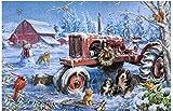Huzkc Christmas on The Farm Juguetes educativos para Adultos para niños, Rompecabezas de Madera clásico, 300/500/1000 Hojas descompresión
