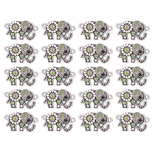 EXCEART 20 Piezas de Aleación Animal Encanto Elefante Diseño Esmalte Artesanía Decorativa DIY Colgante DIY Metal Encantos para Pendientes Collar Pulsera