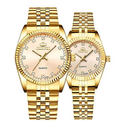Pareja romántica de Acero Inoxidable Relojes de Pulsera para él y para Ella Correa de cerámica Casual Rectángulo Diamantes de imitación Cuarzo analógico Pareja romántica Relojes Conjunto de 2