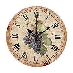 Moonluna Distressed Grape with Roman Numerals Wall Clocks Battery Operated Home Decoration Living Room Bedroom Office 10 Inch