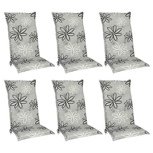 Beautissu Floral Hochlehner Auflagen 6er Set für Gartenstühle – Sitzpolster 120x50 cm Stuhlauflagen Hochlehner UV-Lichtecht – Gartenstuhlauflage grau mit Blumen