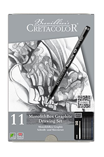 CRETACOLOR Monolith Graphite Pencil Tin Box Set 11 Pieces, multicolor