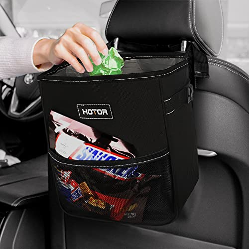 HOTOR Car Trash Can, Multifunctional Car Accessory for Trash Containing & Car Stuff Storing, Portable Car Organizer and Storage with Large Opening, Leakproof Car Garbage Can for Diverse Vehicles