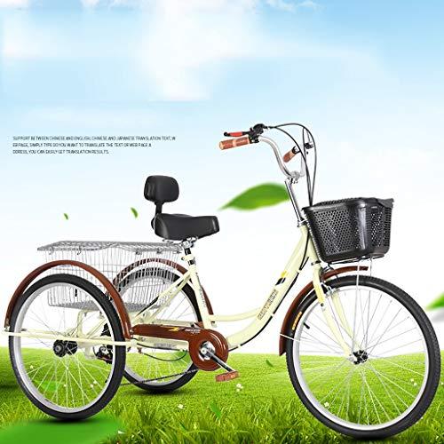 """BOT Bicicletas 24 Pulgadas,Triciclo Adulto 24""""6 velocidades Bicicleta 3 Ruedas Adulto con Cesta de la Compra for el Ejercicio de recreo, Ajustable Pedal de Ciclo Bicicletas de Crucero"""