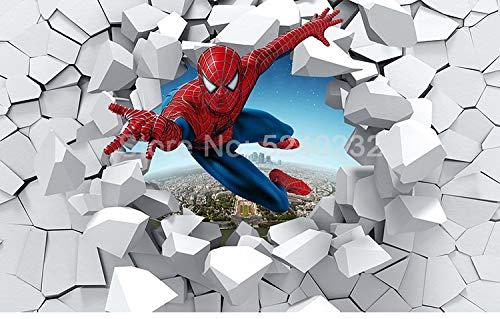 Papel pintado personalizado de Spiderman 3D Mural temático de dibujos animados creativos Habitación de niños Jardín de infantes Habitación de niños Decoración de dormitorio Póster Pintura de pared