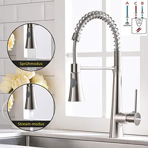 TIMACO Niederdruck Küchenarmatur wasserhahn küche mischbatterie küche 360° drehbar Armatur Küche Spiralfederarmatur Gebürsteter Nickel
